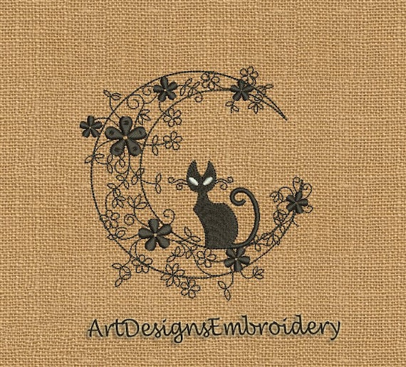 Embroidery Kitty Machine Embroidery Design Embroidery Cat Etsy