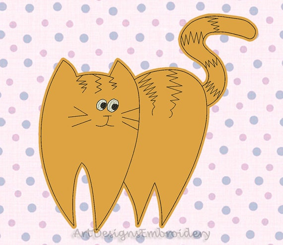 Ginger Cat Applique Design Applique Embroidery Machine Etsy