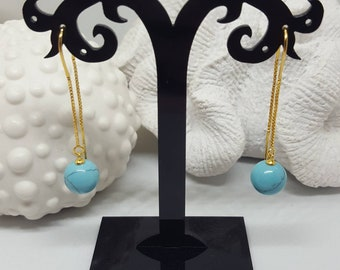 Turquoise Ball Earrings Long 925 sterling Silver gold Plated