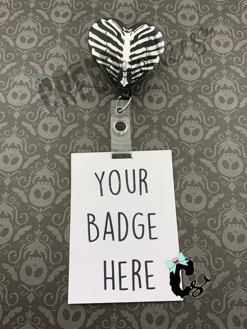 Rib Cage Heart Retractable ID Badge Reel ID holder Badge Holder