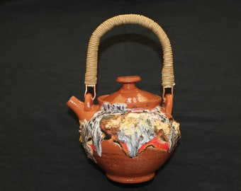 Small ceramic tea pot 1. Mokume gane and rustic stiles 500 millilitres