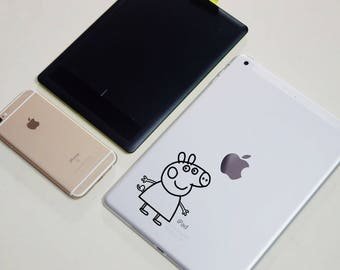 Peppa Pig style vinyl - removable sticker decal for laptop, ipad and wall