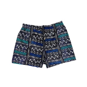 African Shorts in Black /& White Print With Pockets  Festival Shorts African Board Shorts  Made In Africa