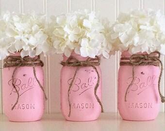 pink mason jars etsy