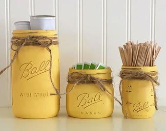 Superbe Yellow Kitchen Jars, Mason Jar Kitchen Decor, Coffee Canister Set, Kitchen  Decor, Kitchen Storage, Mason Jar Storage, Mason Jar Coffee Decor