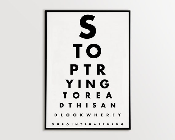 graphic relating to Eye Chart Printable identified as Amusing eye chart printable, Rest room Eye Examine Poster, Typography Artwork Print, typography poster, ground breaking property wall artwork, visible attempt