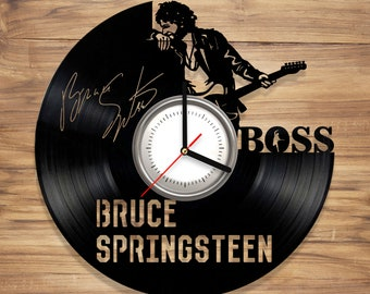 Bruce Springsteen Vinyl Wall Clock The Boss E Street Band Rock Music Legend Art Decorate Home Style UNIQUE GIFT idea for Him Her (12 inches)