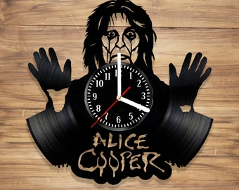 Alice Cooper Vinyl Wall Clock Blood Snake Godfather Rock Music Legend Perfect Decorate Home Style UNIQUE GIFT idea for Him Her (12 inches)