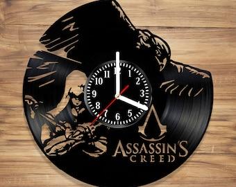 Assassin's Creed Vinyl Wall Record Clock Video Game Assassin Desmond Ezio Art Decorate Home Style UNIQUE GIFT idea for Him Her (12 inches)