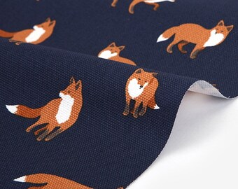 Winter fox  - animal pattern / canvas fabric-59inch