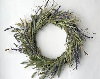 Wreath for all seasons, wreaths for front door, door wreath, country living, wall decoration, lavendar and grasses, moss all natural
