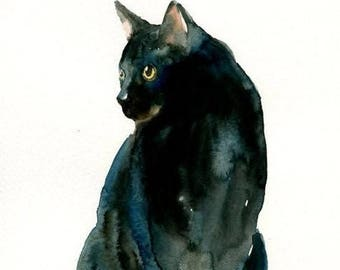 Black Shorthair Feline Watercolor 5x7 Notecard and Envelope