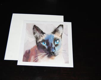 Sealpoint Siamese Watercolor Notecard