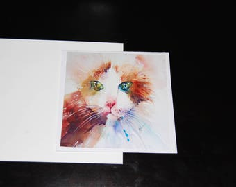 Multicolor Feline Watercolor 5x5 Notecard with Envelope