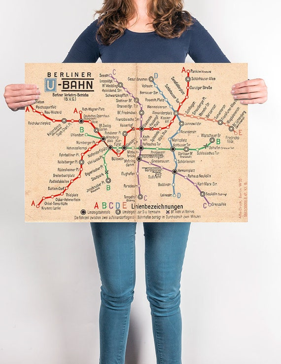 Berlin Bvg Transit Authority U Bahn Map From 1940s Vintage Etsy