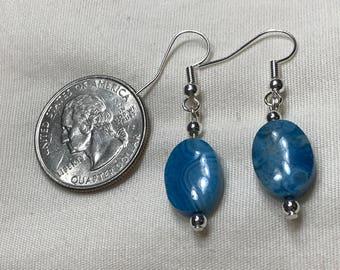 Z0011 Oval Blue Crazy Lace Agate Pierced Earrings