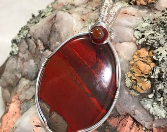A0022 Apple Jasper Gemstone in Hand Crafted Cage