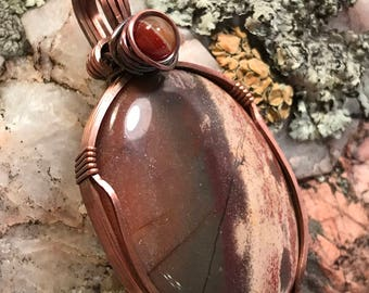 A0020 Apple Jasper Gemstone in Hand Crafted Cage