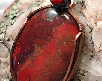 A0056 Apple Jasper Gemstone in Hand Crafted Cage