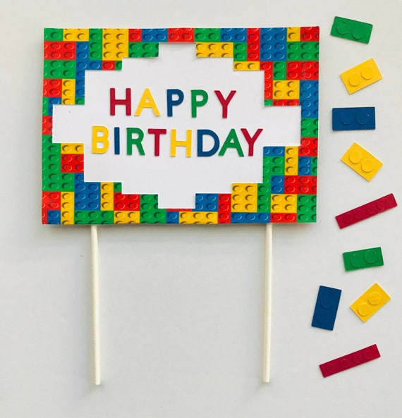 Custom Legos Happy Birthday Cake Decorating Kit Candle Set Decorations