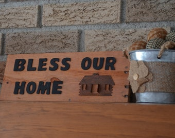 Bless Our Home Wood Sign