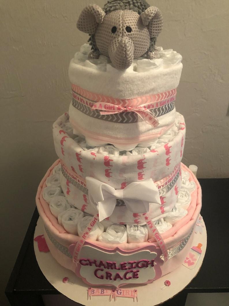 Three Tier Elephant Diaper Cake image 1