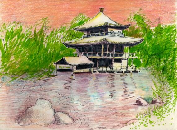 Kyoto Golden Pavillion Original Drawing Japan Art Pen And Ink On Paper Travel Sketch Travel Art Home Decor