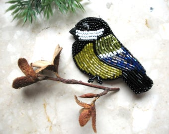 Bird brooch, Tit pin brooch, beaded titmouse, embroidered pin