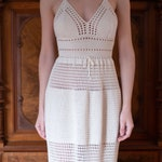 Crochet maxi dress PATTERN: Floor length crochet gown with adjustable shoulder straps and mesh stitch details