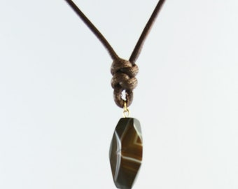 18K gold plated hammered pendant, made in bronze with a brown agate, long cord necklace, handmade, metalsmith jewelry