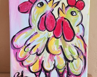 """Chicken Painting """"Two Chicks"""""""