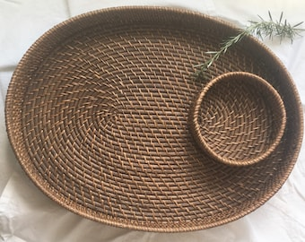 Large woven oval serving tray/ snack tray