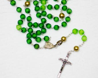 Emerald Green Rosary With Golden Pearls