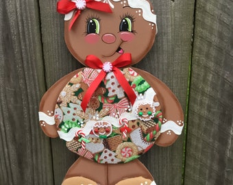 gingerbread wreath accentgingerbread girlgingerbread decorchristmas decor christmas wreath accentwreath embellishmentgingerbread accent - Gingerbread Christmas Decorations Beautiful To Look