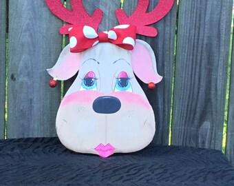 Reindeer wreath accent~Clarice reindeer~Christmas wreath attatchment~ Reindeeer for wreaths~Christmas reindeer~Christmas decor~