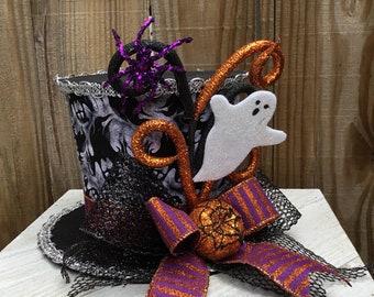 Halloween Top Hat~Top Hat for Halloween~Ghost top hat~ Fall Top Hat~ Top Hat decor~Top Hat Table decor~Top Hat for Skeletons~Fall top Hat~