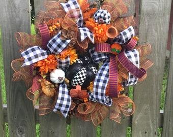 Fall door wreath~Fall wreath decor~Fall decor~Autumn decor~Rustic fall wreath~ Rustic door decor~Rustic fall decor~ Fall Door decor.