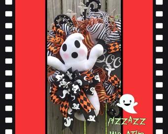 Ghost wreath~Ghost door wreath~Halloween ghost wreath~Halloween wreath~Fall wreath~Halloween decor~Ghost door decor~Halloween ghost decor