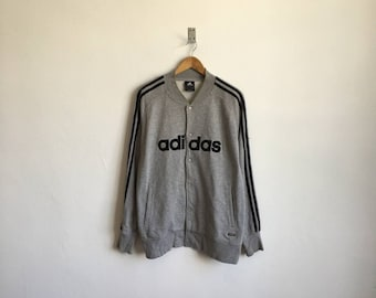 5495a2ce5d9 Vintage 90s ADIDAS Equipment Gray Rugby Shirt Embroidered Spellout Logo  Button Snap Size Medium