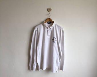 Vintage 90s Polo RALPH LAUREN RLPC White Polo Longsleeve Logo Print Size  Xlarge 8db757b15c3