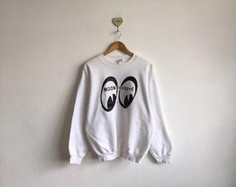 9018566b41 Vintage 90s MOON EYE Equipped Biglogo Print White Sweatshirt Pullover  Jumper Streetwear Hiphop Style Size Large