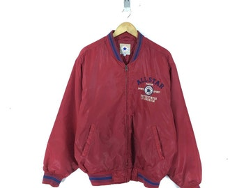176363bd8f0e Vintage 80s 90s CONVERSE Bomber Jacket Zipper Red Size Xlarge