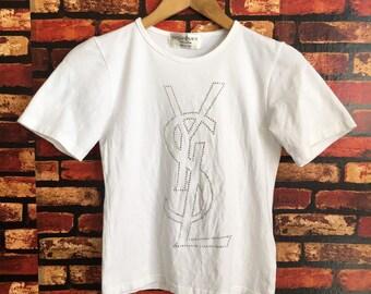 e3d9e536b79 Vintage 80s/90s YVES SAINT LAUREN Pour Homme White Tshirt Shortsleeve  Spellout Logo Crewneck Tshirt Free Size