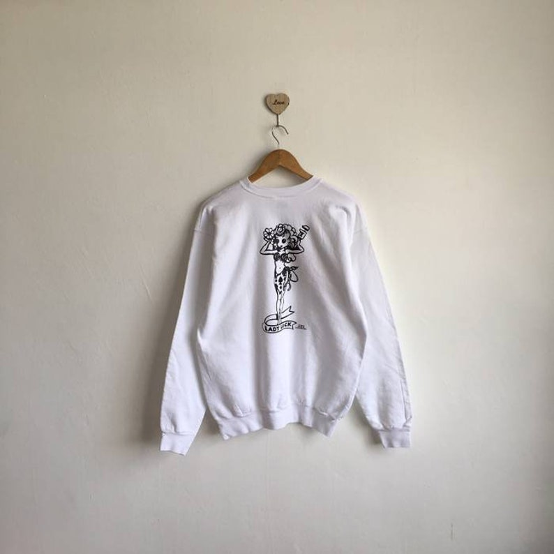 23a6de4e2 Vintage 90s RAT FINK Lady Luck Big Logo Print White Sweatshirt | Etsy
