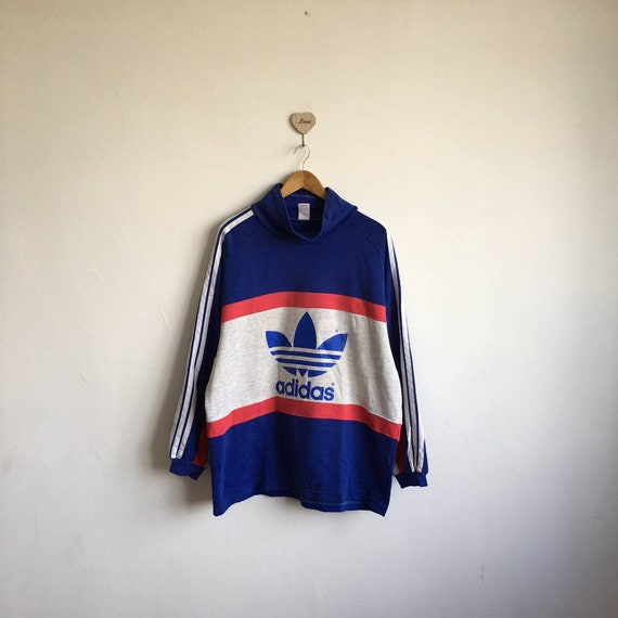 Vintage 80s90s ADIDAS Run Dmc Biglogo Trefoil Multicolor Three Striped Sleeve Pullover Jumper Streetwear Baggy Hiphop Style Size Large