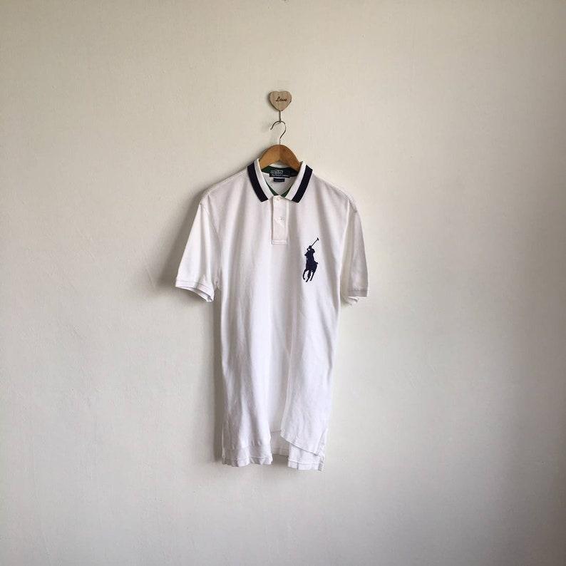 5b533ba99 Vintage 90s RALPH LAUREN Polo Shirt Striped Neck Big Pony | Etsy