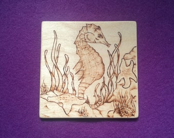 Seahorse pyrography animal art coaster