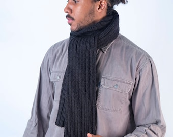 Charcoal Black Scarf/Ribbed Scarf/Wool Scarf/Bespoke/EdenCollection