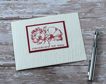 Encouragement Card, Inspirational Greeting Card, Handmade, Note Card, Thinking Of You,  Sympathy, Friendship, Get Well, Red, Roses