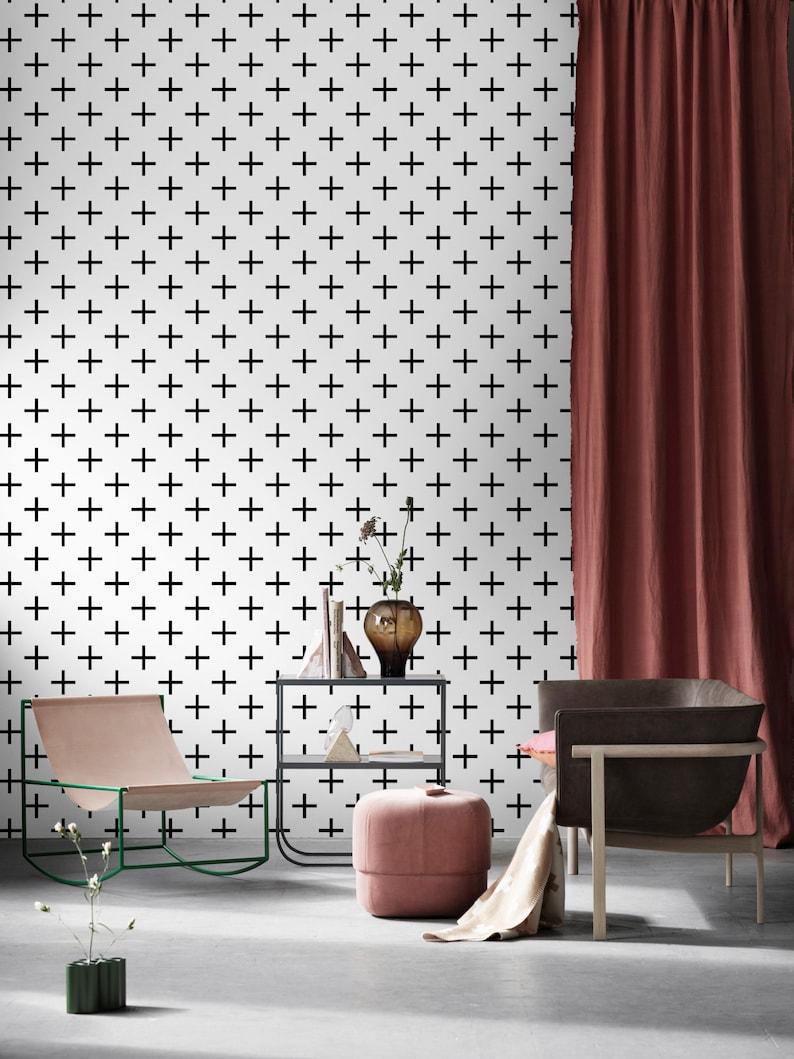 Geometric Peel and Stick Wallpaper Self Adhesive Wallpaper Stripes Wallpaper Removable Wallpaper Wall Decor Cross Wallpaper